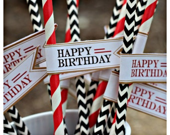 40TH BIRTHDAY DECORATIONS Party Straws 40th birthday straw