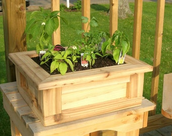 Planter, Herb Garden, Fairy Garden, Flower Cedar Planter, Patio Planter, Indoor Planter, Deck Planter