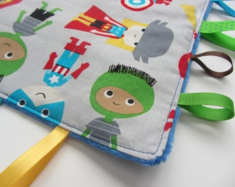Superhero Baby Sensory  Crinkle Toy  Blanket