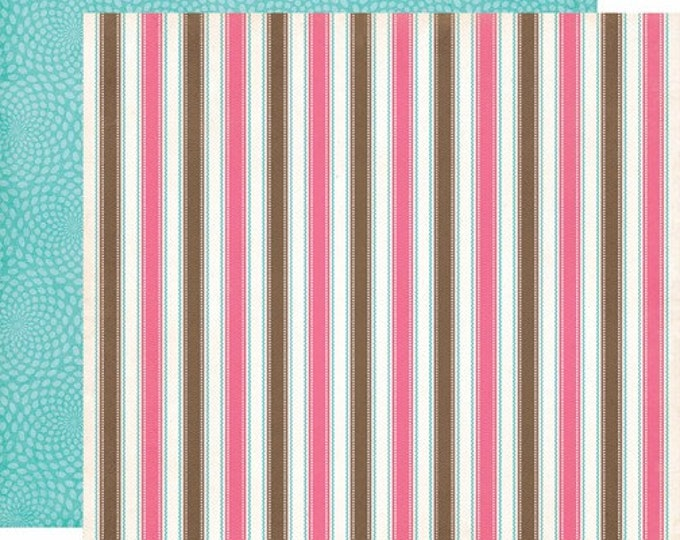 2 Sheets of Carta Bella COOL SUMMER 12x12 Textured Scrapbook Paper - Neapolitan Stripe
