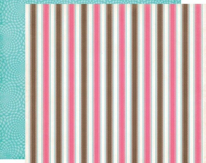 2 Sheets of Carta Bella Paper COOL SUMMER 12x12 Textured Scrapbook Cardstock - Neapolitan Stripe