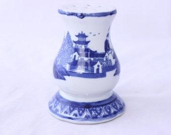 Blue Ironstone Hatpin Holder, Blue Asian Scene Hat Pin Holder, Cobalt Blue Hatpin Holder