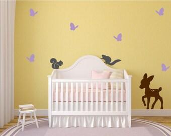 Nursery Wall Decal, Deer, Butterflies, and Squirrels