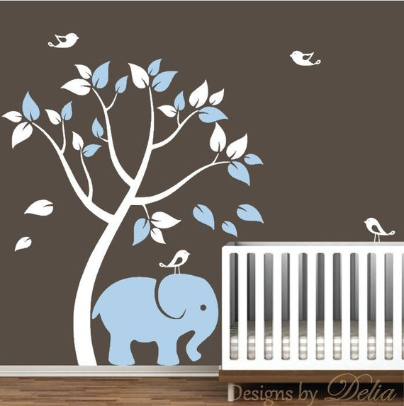 Nursery wall decal with tree elephant and birdies - Stickers elephant chambre bebe ...