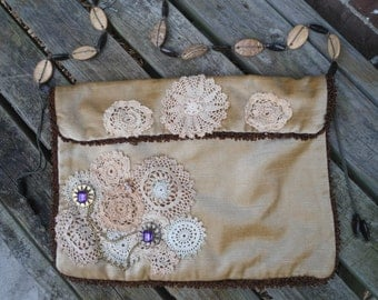 Lace Purse Upcycled Bag Patched Patchwork Purple Pendant Brooch Brown Beige