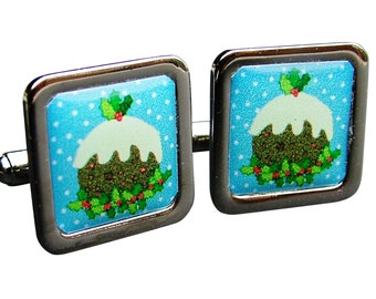 Christmas Pudding fun cufflinks