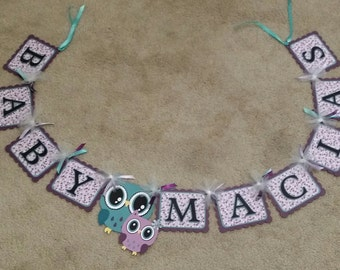 Open eyed mom and baby Owl Banner (Purple and Turquoise)