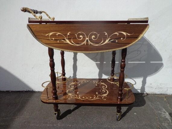 vintage italian marquetry tea cart bar cart inlay colorful. Black Bedroom Furniture Sets. Home Design Ideas