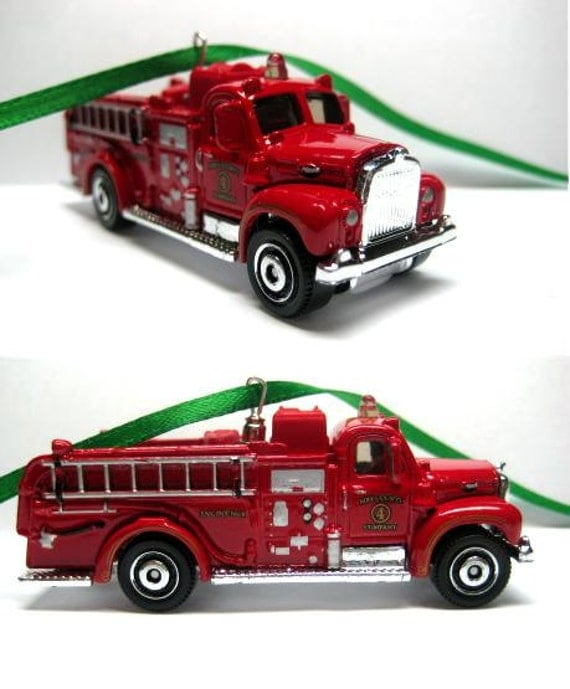 1963 Red Mack Fire Truck Car Christmas Ornament by ...