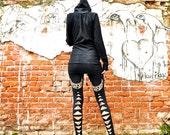 Priestess Print, High Waisted Leggings, Black Leggings, Bamboo Leggings, Black Tights, Bamboo Jersey, Handmade Leggings, Festival Wear