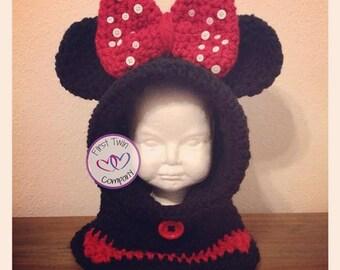 Miss Mouse Hooded Cowl crochet pattern, kids hooded cowl, hooded cowl pattern, crochet pattern