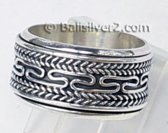 Sterling ,Silver,925, Bali, Band Ring Spin , R 203 Ring Size US # 5-9.5