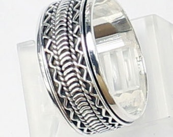 Sterling ,Silver,925, Bali, Band Ring Spin Ring R202 Ring Size US # 6 to 8