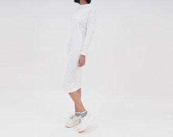 Minimalist Casual Long Sleeve Midi Dress // White Jersey Cotton Day Dress