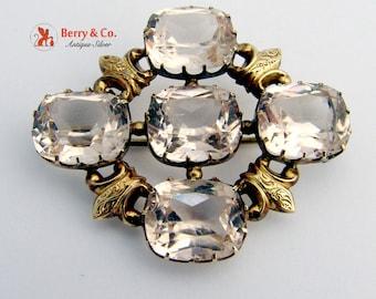 Victorian Brooch 10 K Gold Glass