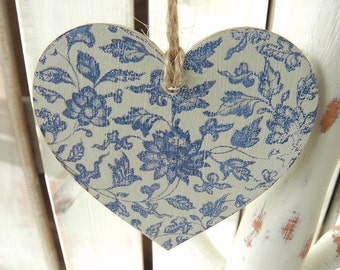 Wooden Heart Hanging Decoration  - Blue China