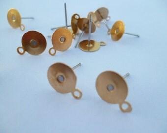 Golden Stud Earrings_SF001035_Findings Earrings_of:8 mm_pack 30 pcs