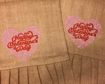 Valentine's Day Burlap Table Runner Embroidery Design Both Ends   2 yards x 14""