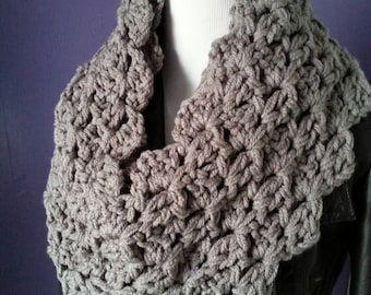Chunky Crochet Lacy Infinity Scarf
