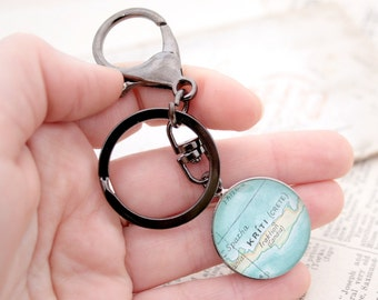 Personalized Keychain Custom Map Keyring Map Location Map Bespoke Key Chain Custom Vintage Map Personalized Gifts Housewarming Gifts