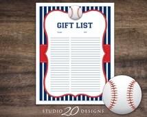 Instant Download Baseball Baby Shower Gift Registry, Printable Gift List, Blue Red Baseball Theme Baby Shower Gift Tracking Sheet 68A