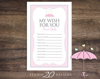 Instant Download Pink Umbrella Wishes for Baby, Umbrella Baby Sprinkle Games for Girl, Pink Umbrella Wish for Baby Shower Cards #64A