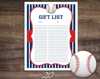 Instant Download Baseball Baby Shower Gift Registry, Printable Gift List, Blue Red Baseball Theme Baby Shower Gift Tracking Sheet 68A