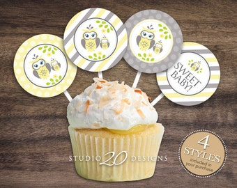 "Instant Download Yellow Owl Cupcake Toppers, 2"" Grey Yellow Owl Baby Shower Cupcake Toppers, Gender Neutral Owl Pops 23G"