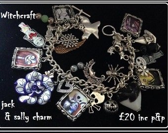 Handmade Jack & sally Nightmare before Christmas Charm Bracelet !