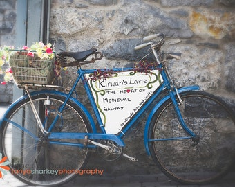 Travel Photography, Galway City, Ireland, Fine Art Print, Bicycle, street scene, europe, Alley, blue