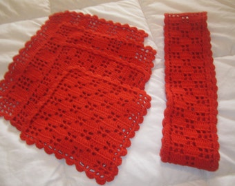 Five Piece Hand Crochet Table Set Made in Sweden