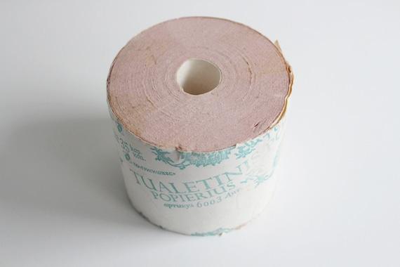 vintage soviet toilet paper roll new old stock vintage home supply pink wc paper ussr era. Black Bedroom Furniture Sets. Home Design Ideas
