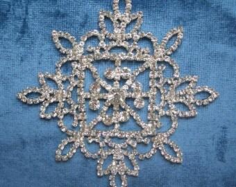 Wedding, Bridal Applique, Beaded Rhinestone decor for a dress in silver, DIY Wedding, Wedding supplies.