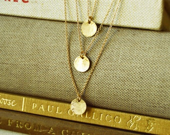 Three Layer 14K Gold Fill Necklace - Hammered Discs Three Tier Layering Necklace Delicate Dainty Chic Simple Modern Jewelry