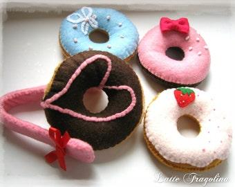Felt Donuts set (vol, 1) with a Tong