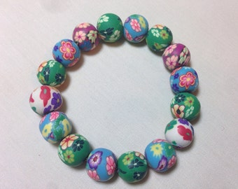 Flower Clay Bead Bracelet