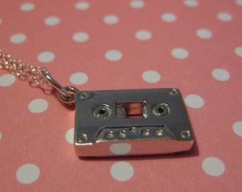 Retro Mix Tape Sterling Silver Necklace (24 inch)