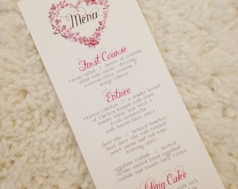 150 Floral Heart Menu Cards