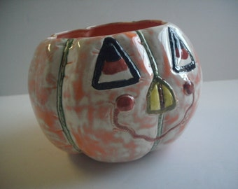 Halloween ceramic pumpkin bowl candy dish Softy