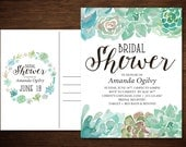 Succulent Bridal Shower Invitation Postcard in a Rustic Vintage Watercolor Calligraphy Style