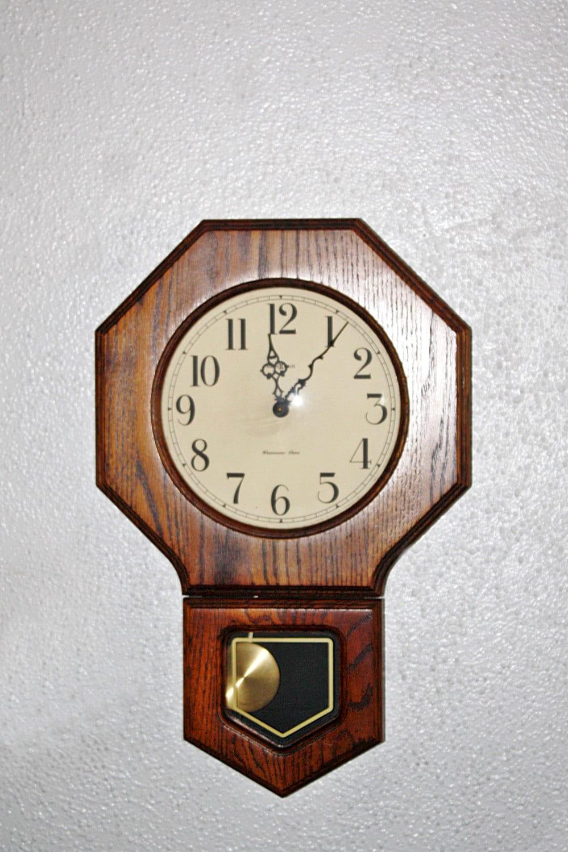 vintage howard miller regulator wall clock by queenieseclectic