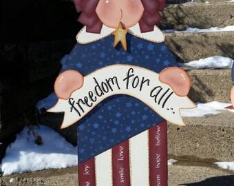 Wooden Americana Patriotic Lady Liberty