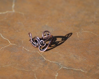 wire wrapped copper ring / adjustable size 6-8