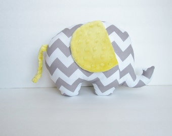 Grey Chevron and Yellow Minky Dot Stuffed Elephant Baby Toy Pillow, Nursery Pillow Decor, Photography Prop