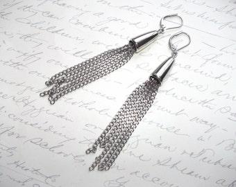 Long stainless steel chain earrings
