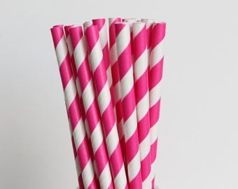 Dark Pink Striped Paper Straws-Mason Jar Straws-Pink Straw-Wedding Straws-Pink Striped Straws-Dark Pink Party Straws-Fuchsia Drinking Straws
