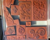 Fun  Large Group of 16 Rubber Shapes  & CRAZY PATTERNS Vintage Scrapbooking Rubber Stamps Wood