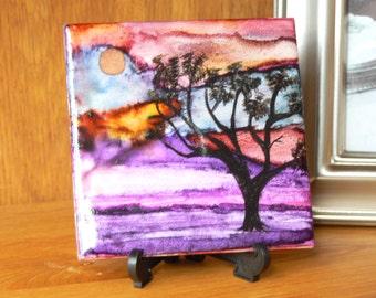 Alcohol ink landscape,alcohol ink painting, ceramic tile, one of a kind