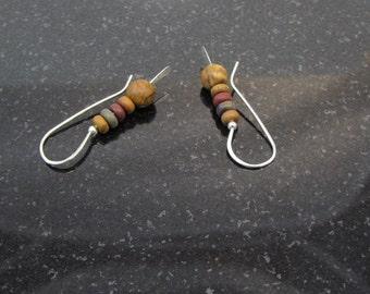 SALE // Sterling Silver Jasper - Red Creek Jasper Earrings, Drop Earrings, Minimalist Jewelry, Threaded Earrings, Earthy Jewelry, Womens