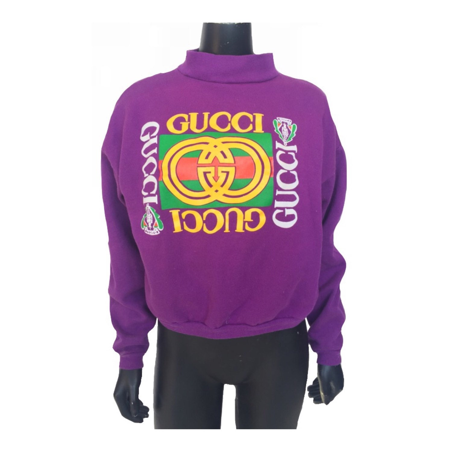 vintage 80s rare gucci logo pullover sweatshirt by littleloco. Black Bedroom Furniture Sets. Home Design Ideas
